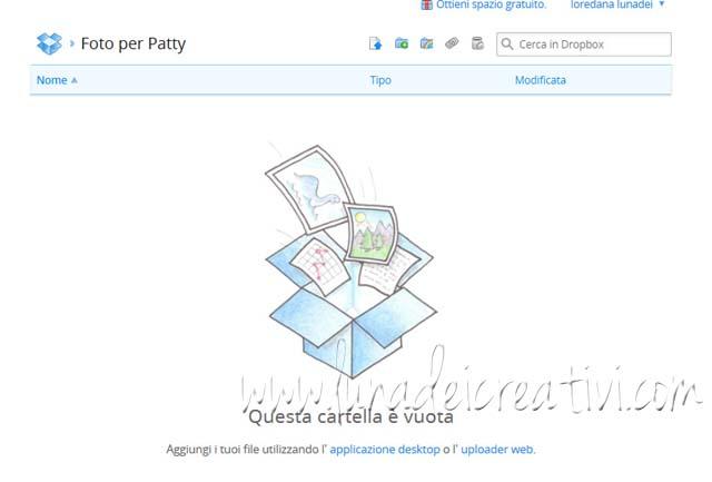 """ora devi caricare le foto nella cartella: clicca sul link """"uploader web"""" sotto """"questa cartella è vuota"""""""