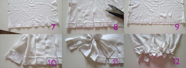 Bag t-shirt: taglia delle frange sull'estremitá inferiore e annodale