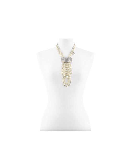 Collana con perle in pasta di vetro e strass