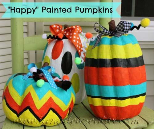 Zucche in cartoncino colorato con colori acrilici