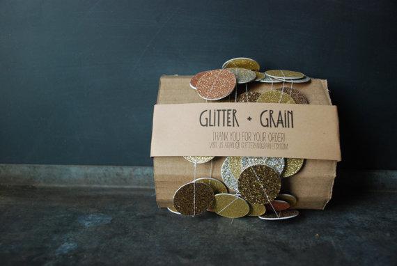 Ghirlana Oro e Glitter di Glitter and Grain (negozio Etsy)