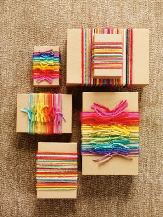 DIY BOX pacchetto con fili colorati