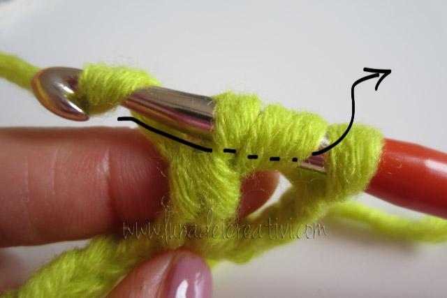 Riprendi il filo e passalo ancora attraverso le prime 2 maglie
