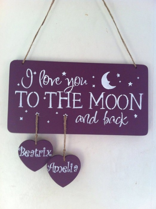 I love you to the moon and back di Itsasignuk, etsy
