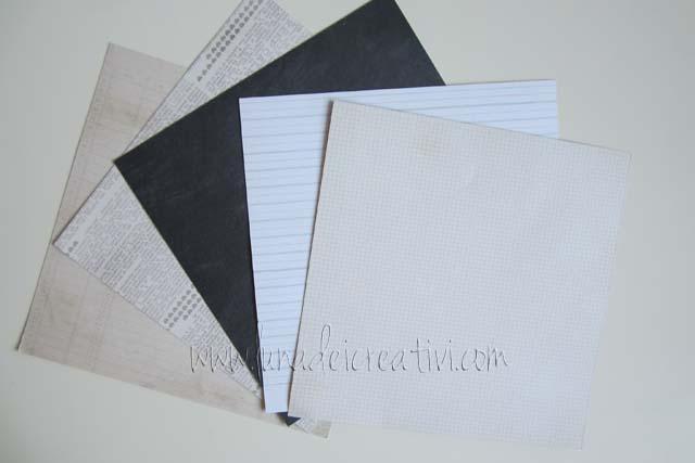 """5 Card di 6""""x6"""" double face nelle tonalità bianco e nero"""