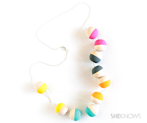 Painted wood bead necklace by She Knows