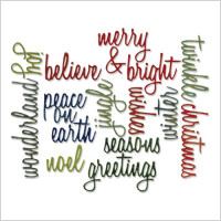 "set di Thinlits Die ""Holiday Words"" Script by Tim Holtz"