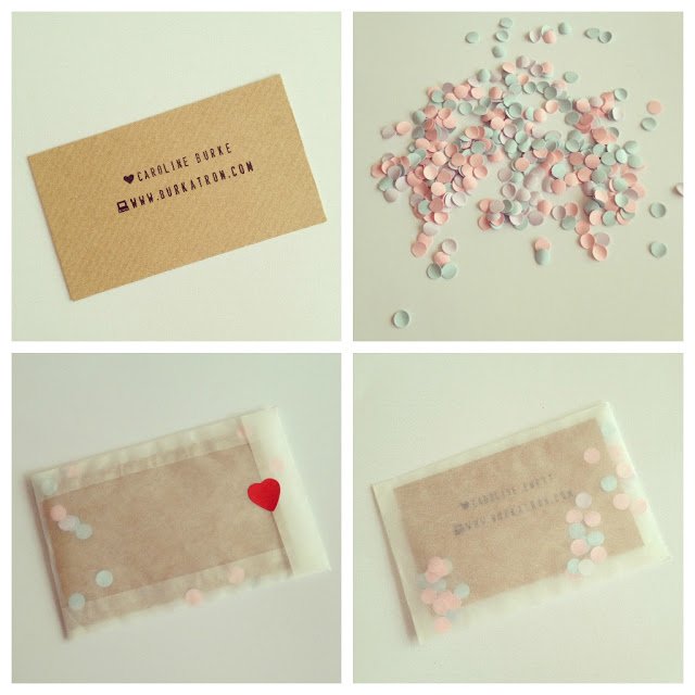 business card con confetti